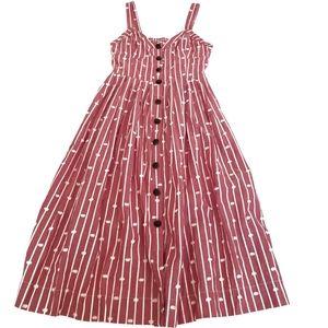 Maeve Anthropologie Hudson Light Red Dress Sz 2